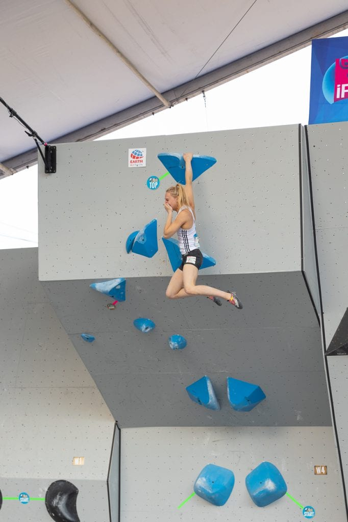 Janja Garngret flashing the final boulder problem winning the World Cup