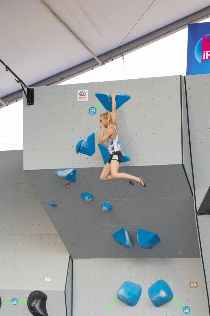 Janja Garngret flashing the final boulder problem winning the World Cup